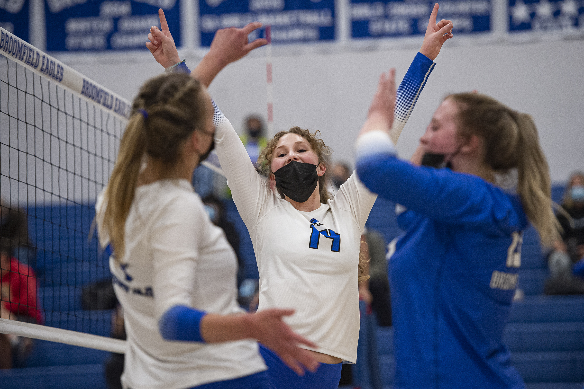 Broomfield sophomore Lilia Neill (14) reacts ...